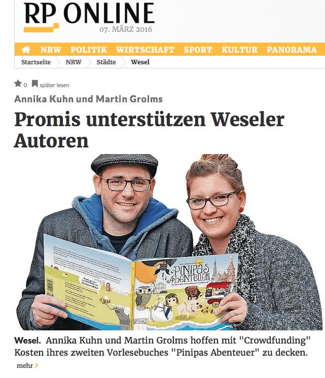 Pinipas Abenteuer Band 2 in der Rheinischen Post 7. März, 2016