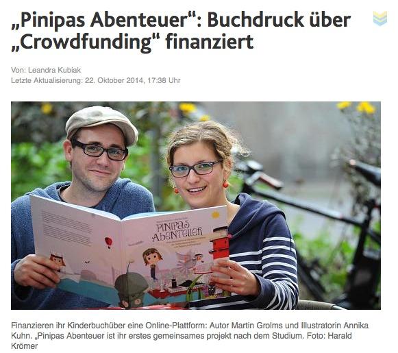 """Artikel Aachener Nachrichten """"Pinipas Abenteuer"""" via Crowdfunding finanziert"""