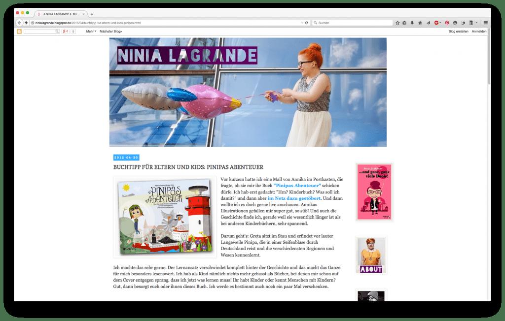 Ninia LaGrande - Pinipas Abenteuer, eine phatastische Deutschlandreise als Seifenblasenpilotin und Papierschiffmatrosin