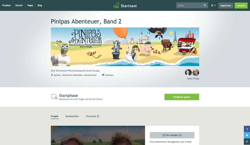 startnext Crowdfunding Website Pinipas Abenteuer Band 2