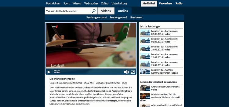 WDR Lokalzeit Aachen besucht die Macher von Pinipas Abenteuer
